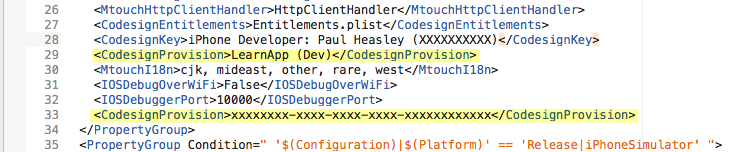 Duplicate CodesignProvision tags in iOS.csproj file