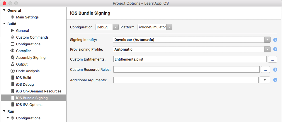 iOS Bundle Signing options for iOS Xamarin project