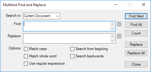 Screenshot of ToolBucket multiline search and replace