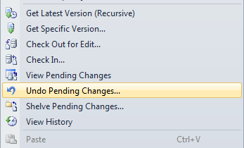 Selecting Undo Pending Changes from the right click menu in Solution Explorer